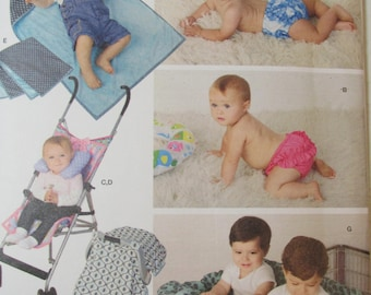 Simplicity Pattern 1481 Babies' Accessories: Swim Diaper, Neck Roll, Stroller Cover, Blanket, Car Seat Tent, Twin Shopping Cart Cover