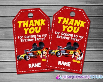 Mickey Mouse and Roadster Racers Thank You Tags, Mickey Mouse and Roadster Racers Favor Tags, Mickey Mouse and Roadster Racers Gift Tags