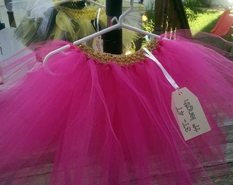 Tutu with pink tulle and a gold waistband