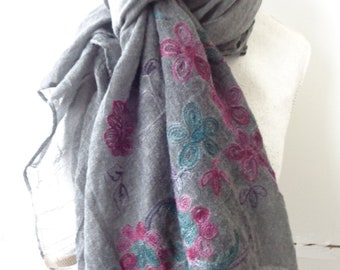 large cotton scarf gray floral  cotton scarf, viscose scarf, summer scarf chicbychicScarves.