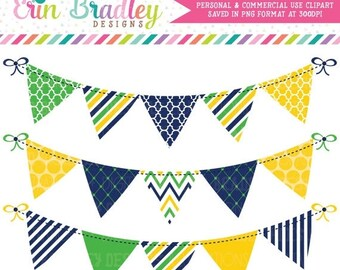 80% OFF SALE Digital Banners Commercial Use Clipart in Navy Blue Yellow & Kelly Green Polka Dots Chevron Striped Instant Download Bunting
