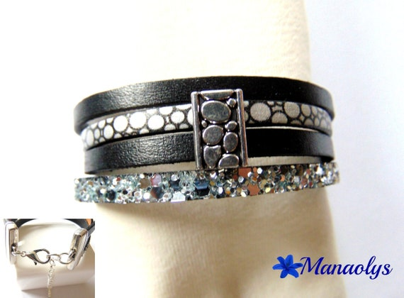 Cuff Bracelet, black, silver and glitter, real leather and split leather 401