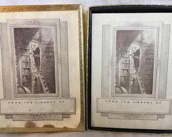 Two Opened Vintage Antioch Publishing Bookplates MAN on LADDER ln LIBRARY - 57 Bookplates
