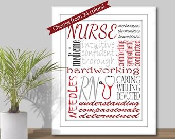 Nurse Subway Art - (CHOOSE from 24 Color Combos) Nurse Word Art, Printable, Nurse Gift, gift for RN, RN Subway Art, wall decor, stethoscope