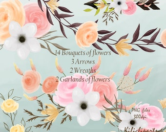 Bouquets, Arrows, Wreaths, Garlands of flowers, 21 elements cliparts , boho wedding invitation, clipart, instant download.