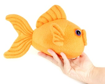 Goldfish Plush Toy, Fish Plushie, Gold Fish Stuffed Animal, Fish Soft Toy, Cute Kawaii Goldfish, Nautical Kids room Decor, Fish Stuffie