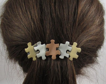 Autism Awareness French Barrette 80mm- Hair Accessories- Hair Clip- Puzzle Jewelry