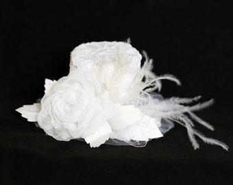White Top Hat Lace Tulle Covered Bridal Hat Wedding Tea Party Photography Prop Prom Hair Accessory