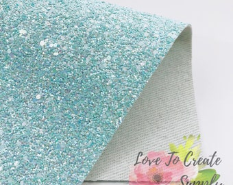 Chunky glitter fabric sky blue | glitter faux leather