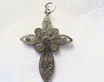 Sterling Filigree Cross Pendant, Cannetille Wire Work Cross, Vintage Sterling Cross, Religious Jewelry
