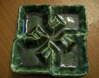 Mid-Century McCoy Ashtray Green Drip Glaze Ceramic Pottery