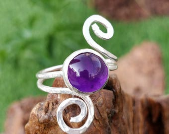 Amethyst Swirl Ring, Sterling Silver, Amethyst, Handmade.