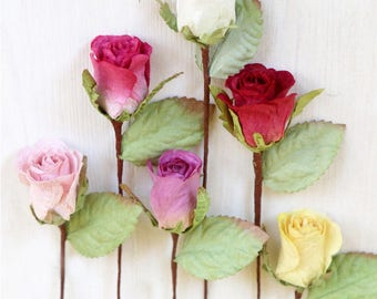 Small Paper Roses x3 for Craft, Weddings, Favours, Decoration, DIY & Gifts - Pink, Red, Yellow, White, Purple