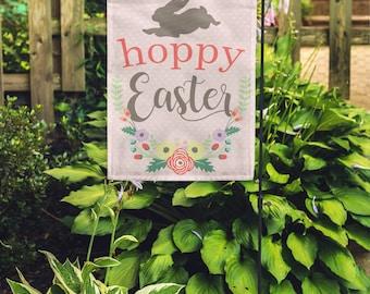 """Hoppy Easter Spring Home + Garden Flag 12""""x18"""""""