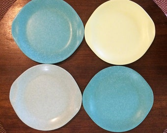 Russel Wright Melamine DINNER PLATES Four Retro Melamine Speckled Handled Plates Aqua Yellow Gray Melmac & Melmac dinner plate | Etsy