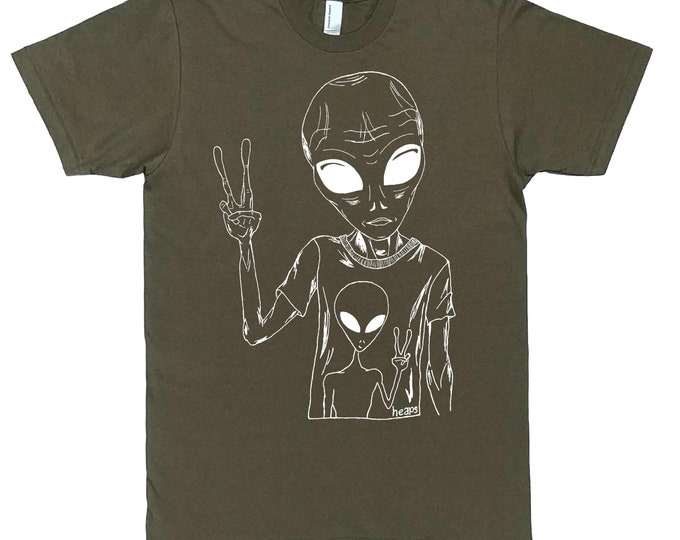 Sci Fi Tshirts - Space Alien Tshirt - Hipster Clothing - Hippy Clothes - Mens Gift - Man Gift - Boyfriend Gift - Nerd Tshirt - Army Green