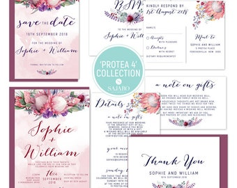 Protea 4 - Wedding invitation, wedding invitation set, protea flower, native bouquet