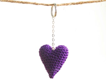 Ultra Violet Purple Heart Keychain. Crochet Amigurumi Keychains. Pantone Color of the Year. Valentines day gift for her.