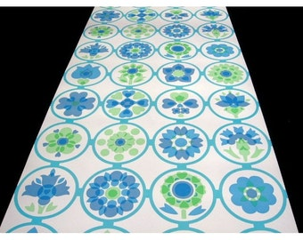 Vintage Wallpaper - price by the Roll  - 70s Retro Wallpaper - vinyl wallpaperfrom 70s -blue circles and flowers | cas 3