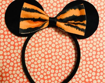 Cute Fashion Animal Print Tiger Bow Tie Minnie Mouse Ears