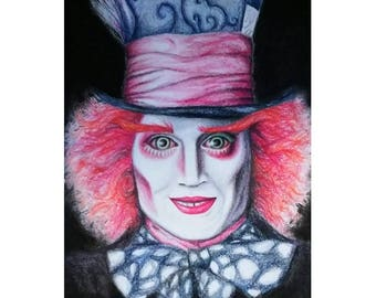 Mad Hatter - Giclee Print of Colored Pencil Drawing