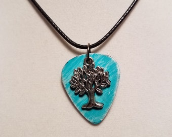 Guitar pick Necklace made from  Vinyl Record -  Tree of Life
