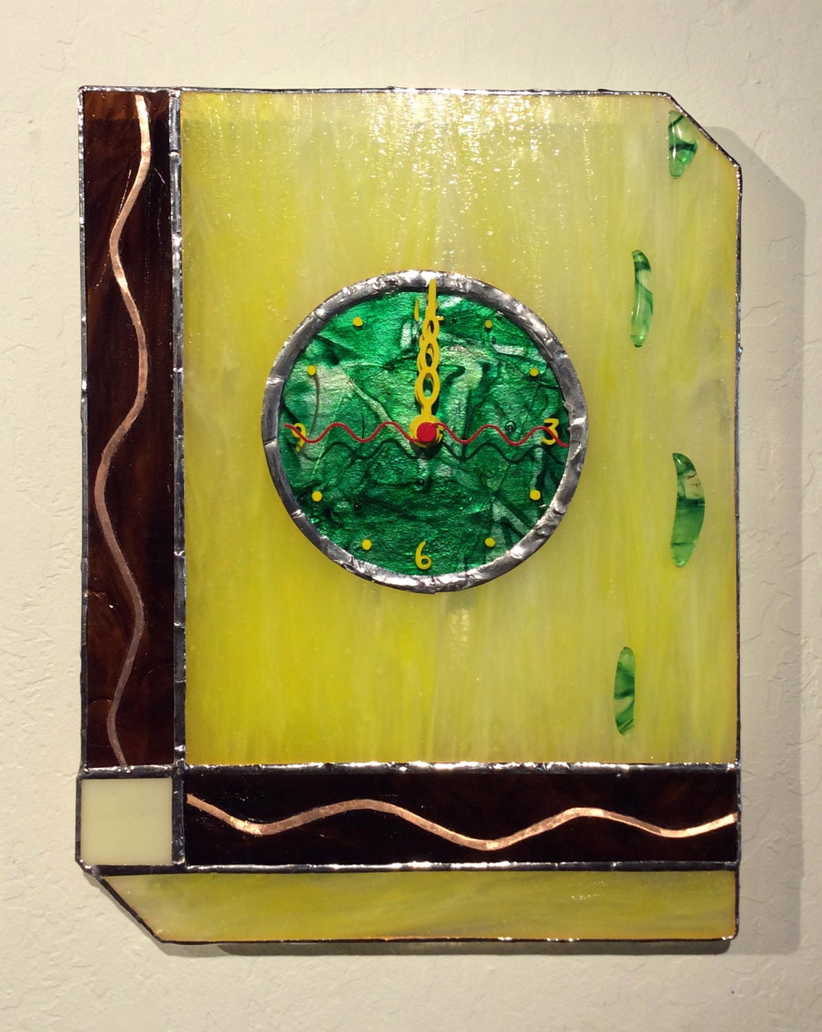 Lemondrops Fused and Stained Glass Wall Clock