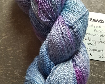 Hand dyed sparkling  lace  weight yarn 100g Mermaid of Padstow