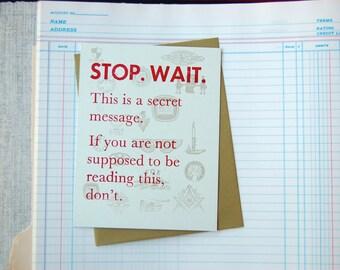 Secret Letterpress Postcard - Greeting Card Message Hello Just Because Vintage Type Free Mason Secret Society Mysterious
