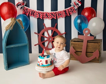 NAUTICAL SMASH CAKE Banner / 1st birthday boy / First Birthday Banner / 1 Year Old Birthday Boy / Cake smash boy / Name banner for nursery /