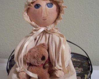 Gourd doll, teddy bear, handmade, primitive
