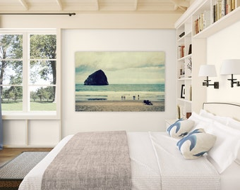 photography, nature photography, ocean blue, beach art, beach photography - Haystack Rock - 16x24 photograph on canvas