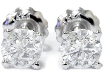 1.05 Ct 14K White or Yellow Gold Round Cut Stud Earrings Screw Back, Womens Diamond Earrings, 14k