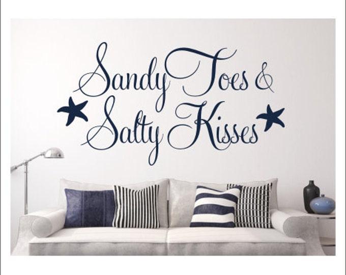 Sandy Toes Wall Decal Salty Kisses Decal Beach House Wall Decal Beach House Decor Beach Cottage Decor Starfish Wall Decal Vinyl Wall Decal