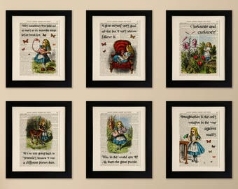 Set of 6 Art Prints on old antique book page - Alice in Wonderland Quotes, Vintage Upcycled Wall Art Print, Encyclopaedia Dictionary Page