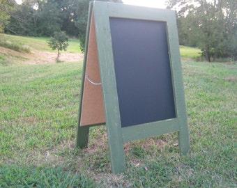 Two sided sidewalk chalkboard mountain moss green color rustic distressed earthy sandwich chalkboard a frame double sided chalk board