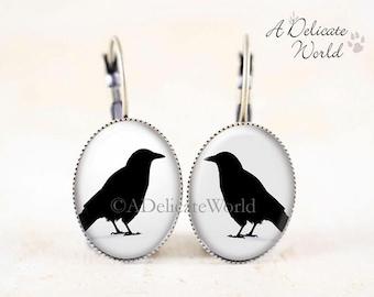 Crow Earrings - Bronze Bird Earrings, Black Bird Silhouette Earrings, Gothic Crow Jewelry, Leverback Earrings Dangle, Crow Bird Jewelry Gift