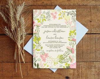 Wedding Invitation, Wildflower Wedding Invitation Set, Floral Wedding Invitation, Vintage Floral, Fall Wedding, Rustic Wedding
