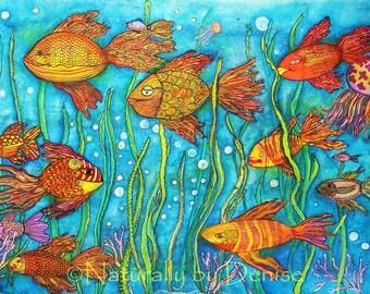 "Something Fishy  3 D  Watercolor   12 X 17"" Art Print"
