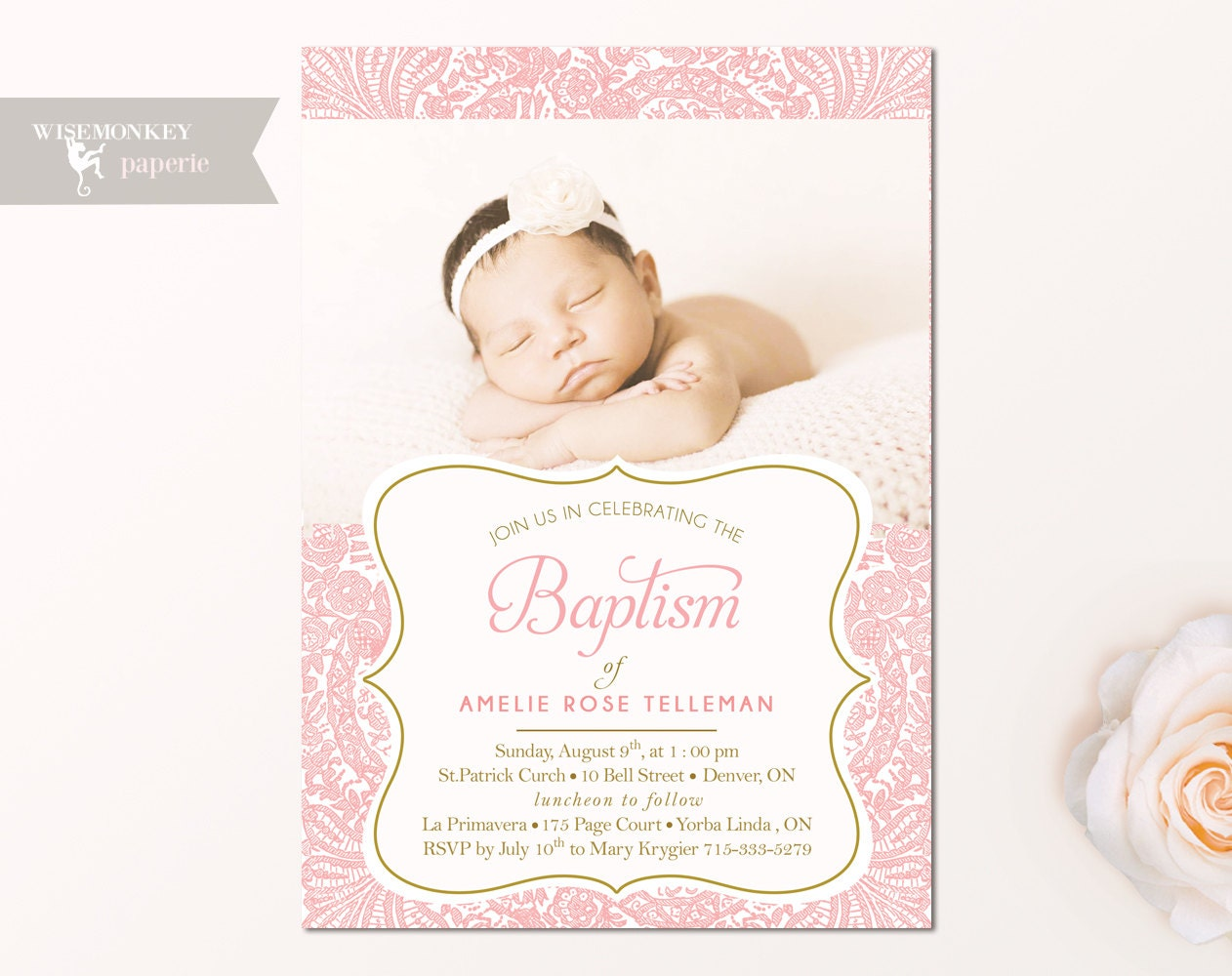Baptism Invitation Christening Invite Church Godparents