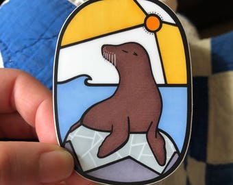 Sea Lion Portrait Vinyl Sticker - Decal - Laptop Sticker - Bumper Sticker- Small Gift - Animal - California
