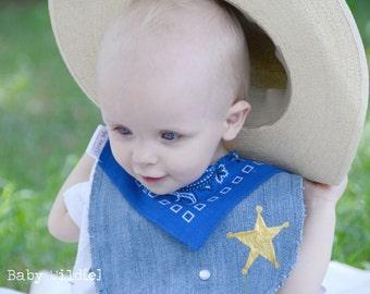 Cowboy Birthday Bib Baby Boy Recycled Jeans Sheriff Deputy - Blue Bandana