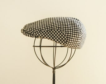 Houndstooth baby newsboy hat, wool newsboy cap, baby photo prop flat cap, winter hat for baby  - made to order