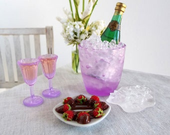 Miniature CHAMPAGNE on ICE Set with CHOCOLATE Covered Strawberries - Realistic Food & Drink 1:6 Scale for Fashion Dolls and Action Figures