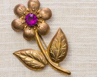 Gold & Purple Vintage Flower Brooch 1920s - 1930s Art Deco Broach Vtg Pin 7ii
