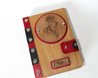 Red wooden notepad handmade from oak with a leather base and with old pages with a zodiac sign Virgo as a birthday present for mom or father