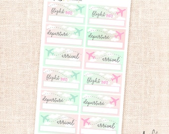 Flight stickers - 14 box planner stickers / airplanes, flights, traveling
