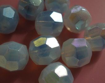 Vintage Glass Beads (8)(9mm) German Blue Opal Givre Faceted AB Beads