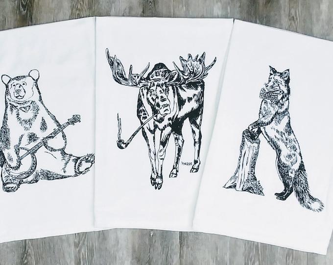 Tea Towels Set - Black Ink Screen Printed Bear Moose Fox - Kitchen Towels - Dish Towels - Cotton Towels - Flour Sack Towels  Animal Towel