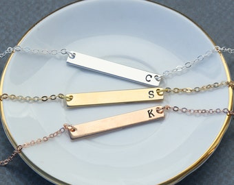 Simple Initial Bars • Rose Gold Bar Necklace Stamped Gold Bar • Minimal Necklace Handstamped Rose Gold Initial • Skinny Bar Charm